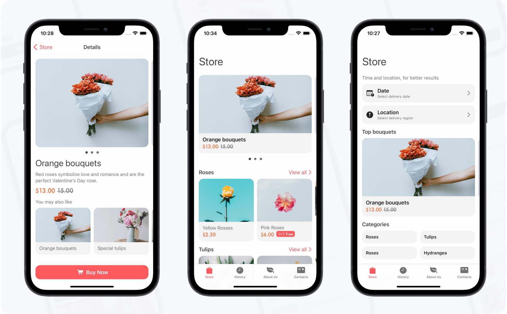 Flowers Store + iOS App Design System Kit - 1